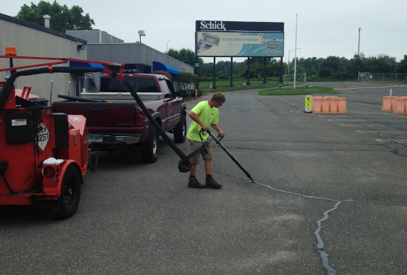crack fill and asphalt patching